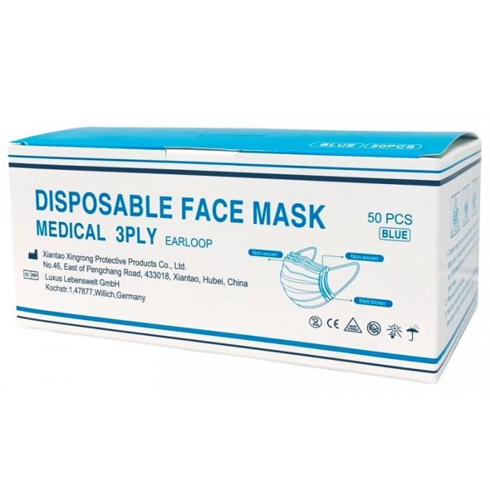 Medicininė veido kaukė Type II, 3 sluoksnių, 50 vnt.