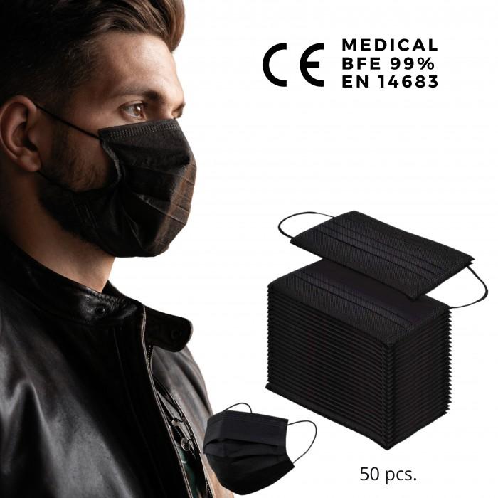 Medicininės vienkartinės juodos veido kaukės BFE 99% (50 vnt.)