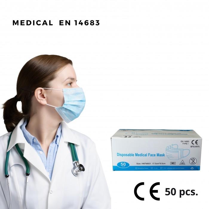 Medicininė vienkartinė veido kaukė, 3 sluoksnių, 50 vnt.