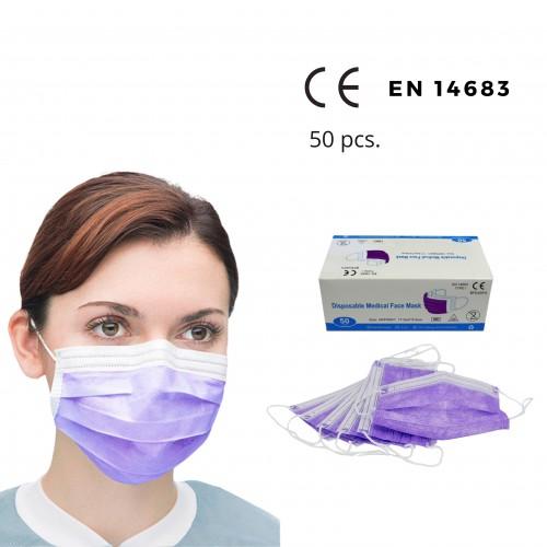 Medicininės vienkartinės violetinės veido kaukės BFE 99% (50 vnt.)