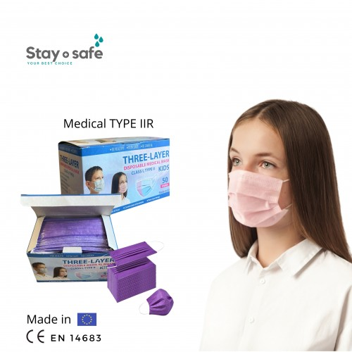 Vienkartinės medicininės  TYPE IIR veido kaukės 3-jų sluoksnių vaikiškos violetinės (50 vnt.)
