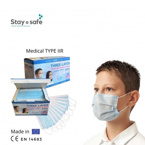 Vienkartinės medicininės  TYPE IIR veido kaukės 3-jų sluoksnių vaikiškos melsvos (50 vnt.)