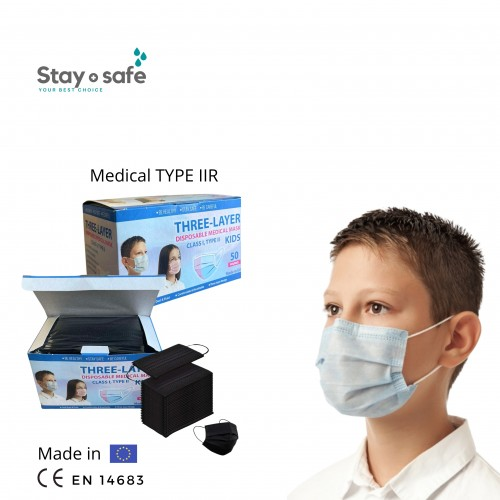 Vienkartinės medicininės  TYPE IIR veido kaukės 3-jų sluoksnių vaikiškos įvairių spalvų (10 vnt.)