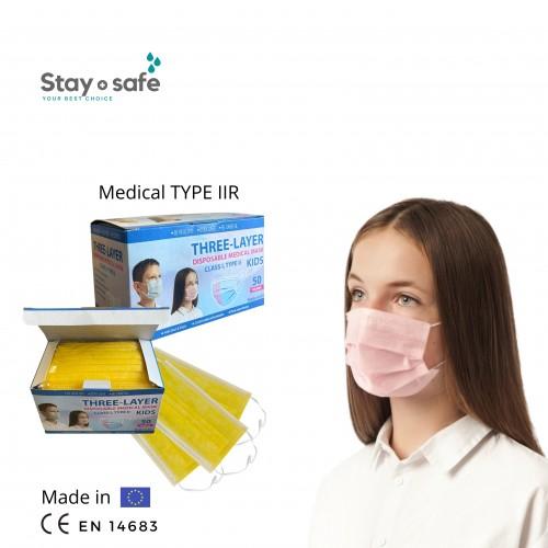 Vienkartinės medicininės  TYPE IIR veido kaukės 3-jų sluoksnių vaikiškos geltonos (50 vnt.)